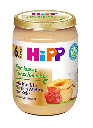 Hipp Frucht & Getreide, Für kleine Feinschmecker à la Pfirsich-Melba mit Keks, 6er Pack (6 x 190 g)