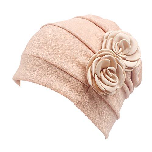 iShine Turban Frauen Stirnband Mädchen Hut Kappe Islamischer Damen Muslim Kopftuch mit zwei Blumen in Baumwolle Spandex One Size Haarausfall Krebs Chemo Atmungsaktive Khaki (Afrikanische Stirnband Für Frauen)