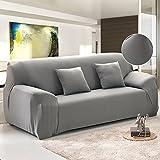 Unbekannt New_Soul - Sofabezug Sofaüberwurf Elastisch Sofahussen (Grau, 3-Sitzer)