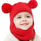 INLLADDY Mütze Kinder Winter Mütze mit Bommel Beanie Strickmütze Hut mit Kragen Babymütze Warm Gefüttert Wintermütze Jungen Schalmütze Unisex 2-7 Jahre Rot Umfang: 40-52CM