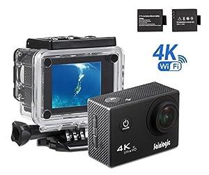 Sainlogic 4k WIFI Sport Caméra, avec Objectif Imperméable 30 M, Angle 170 °, Moniteur LCD HD 4K de 2,0 Pouces, Affichant des Images Full HD 1080p,Sortie HDMI Mini USB TV