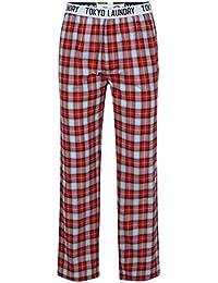 Tokyo Laundry Homme 100% Coton Confortable pyjama imprimé carreaux Taille élastique pour femme