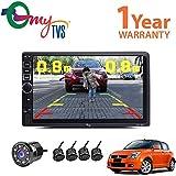 MyTVS TAV-40 HD Touch Screen Car Stereo Media Player With Bluetooth/USB/MP5/MP3 & Mirror Link+8 LED Reverse Parking Camera+ Black Reverse Parking Sensor Kit-Maruti Swift-All Years