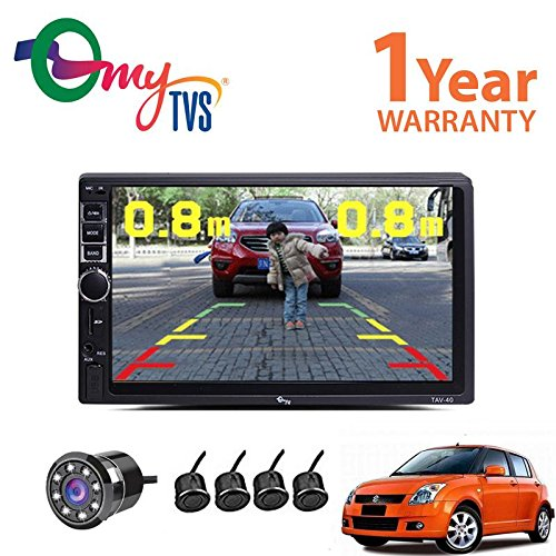 myTVS HD Touch Screen Car Stereo Media Player with Bluetooth/USB/MP5/MP3/Mirror Link & 8 LED Reverse Parking Camera Kit-Maruti Swift-All Years(Black)
