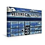 Calvendo Premium Textil-Leinwand 45 cm x 30 cm Quer, Veltins Arena | Wandbild, Bild auf Keilrahmen, Fertigbild auf Echter Leinwand, Leinwanddruck: Die Blaue Fassade Orte Orte