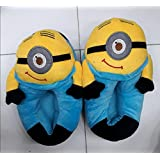 "WSA Retail Despicable Me 2 Plush Stuffed Unisex Slippers Smile Soft Toy Minion 11"" 3D Eyes Adult Shoes Free Size Fit 34-42 (Minion Stuart)"