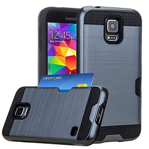 jwest Samsung Galaxy S5/S5Neo Wallet Case mit ID Card Slot Halter Rugged Gummi Impact Heavy Duty Dämpfenden Armor Hybrid Defender stoßfest Case Cover Skin für für Galaxy S5/S5Neo, 180-Navy Blue (Verizon Samsung Galaxy S5 Active)