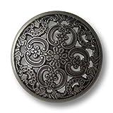 Knopfparadies - 6er Set traumhaft schöne leicht gewölbte altsilberfb. Metall Ösen Knöpfe mit Durchbruch Muster / altsilberfarben, geschwärzt / Metallknöpfe / Ø ca. 25mm