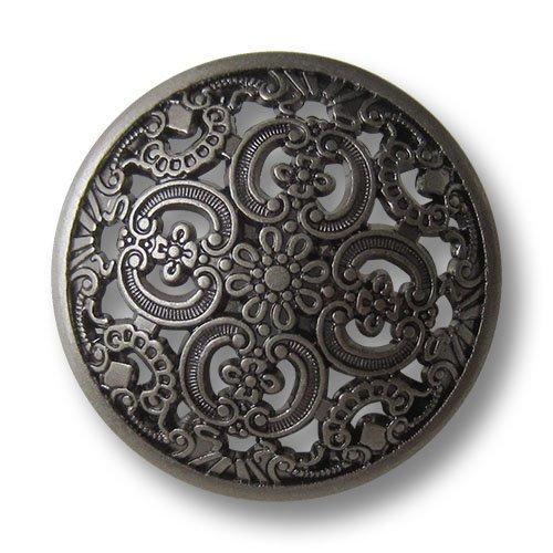 (5637as) - 8er Set Umwerfend schöne Metallknöpfe mit filigranem Durchbruchmuster, leicht gewölbt, altsilber (geschwärzt) / Durchmesser: ca. 18mm