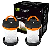 LE 2 Packs Collapsible LED Camping Lantern Flashlight, Dual Purpose, 3 Modes, Battery Powered, Water Resistant, Home, Garden and Camping Lanterns for Hiking, Emergencies, Outages