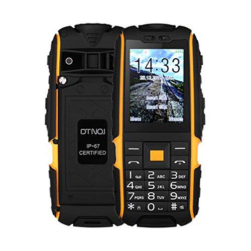 A9 Großtastenhandy Quad-Band zum Entsperren Handy 2.4 Zoll IP67 Wasserdicht Staubdicht Senioren-Handy Mobiltelefon mit FM Taschenlampe Kamera Bluetooth (Orange) (Quad-band Fm Bluetooth)