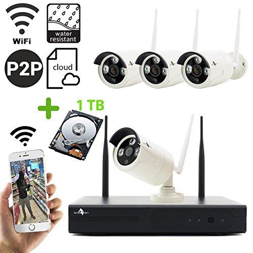 Wlan Funk überwachungskamera 4Kanal mit 1TB Speicher Kabelloses Überwachungsset WIFI NVR Rekorder mit 4 x HD IP Kameras Nachtsicht bis zu 30 Meter für innen und außen Überwachung Bereich IP 66 wetterfest