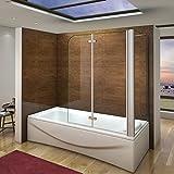 Duschabtrennung Badewannenaufsatz 80x100x140cm 2-tlg. Eck Duschwand Badewanne Faltwand Badewannenfaltwand mit Seitewand 6mm NANO Sicherheitsglas