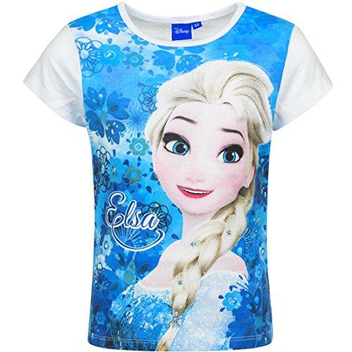 Disney Frozen Die Eiskönigin T-Shirt, Art. 9983, weiß/blau, Gr. 128 (Anna Frozen Shirt Kleinkind)