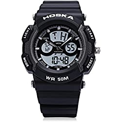 Leopard Shop HOSKA H004S Digital Quartz Children Sport Watch Double Movt Wristwatch Chronograph Calendar Alarm EL Backlight 50M Water Resistance White Black