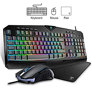 VicTsing Gaming Tastatur und Maus, 7 LED RGB-Handgelenkauflage , 25 Tasten ohne Konflikt, 8 effiziente Multimedia-Tasten, 6 Tasten Gaming Maus 1000 / 1600 / 2400 / 3200 DPI einstellbar(QWERTZ)