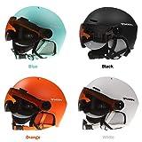 mildily Ski Snowboard Helmet, Snow Sports Helmet with PC Goggles Casque Unisexe avec Noir/Blanc/Bleu/Orange, Le Casque avec Ceinture Ajustée Est Parfait pour Tout Le Monde.
