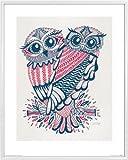 Civette Stampa d'Arte e Cornice (Plastica) - Folk Owls, Cat Coquillette (50 x 40cm)