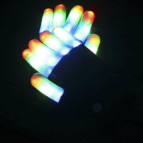 (JIAHG Halloween LED Leuchtende Handschuhe 6 Modus Bunte Licht Handschuhe Gloves Party Konzerte Weihnacht Karneval Lichtshows Club Handschuhe Kostüme)