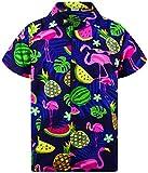 King Kameha Funky Hawaiihemd, Kurzarm, Flamingos Melonen, Blau, XXL