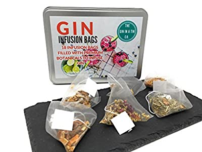 18 Gin and Tonic Infusion Bags - Pyramid Tea Bags To Transform Your Gin & Tonic, 6 Fantastic Flavours With Real Herbs, Spices, Dried Fruit, Fantastic Botanical Infusion Gift Set present by The Gin in a Tin Co.