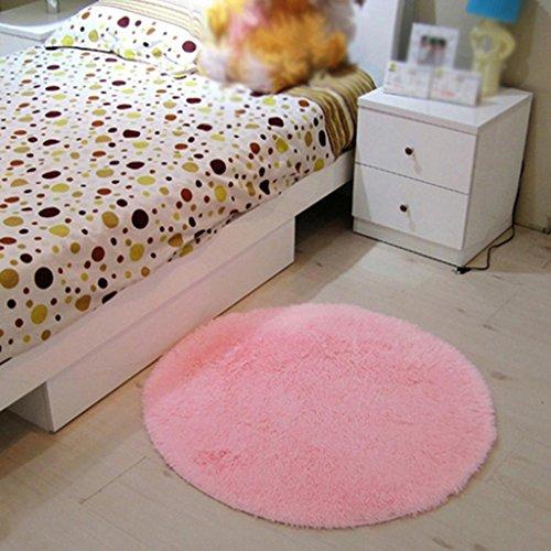 Runden Seidenhaar Teppich Korallen Samt Zelt Teppich Korbsessel Teppich Rattansessel Teppich Schlafzimmer Rutschfeste Matte , pink , 60*60