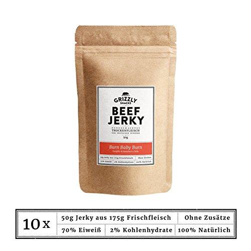 Beef Jerky • Aus Deutschland • Trockenfleisch vom Rind im Set • Burn Baby Burn • >70% Eiweiß (10 x 50g = 500 Gramm)