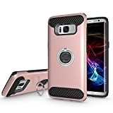 Galaxy S8 Hülle, PEMOTech Schutzhülle Für Samsung Galaxy S8, mit Stoß-Absorption Drop-Schutz Hart PC Shell & Soft Silikon Inneren & 360 Rotierende Ring Grip Halter Stand (Roségold)