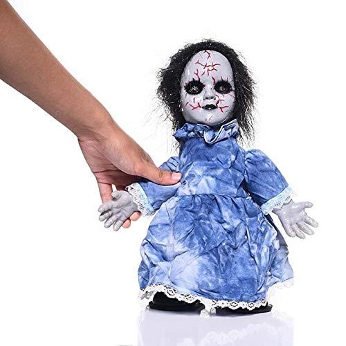 MSSJ Walking Doll Horror Halloween Dekorationen Requisiten Leuchtende Geister Scary Haunted House Dekoration Prop Bar Party Tricky Toy ZombieBlue