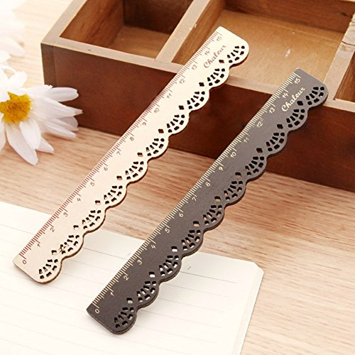 15cm Holz Lineal (schwarz + beige)
