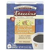 2 Packs of Teeccino Coffee Tee Bags - Organic - Dandelion Caramel Nut Herbal - 10 Bags