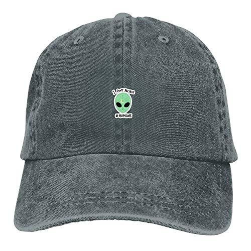 Hoswee Unisex Kappe/Baseballkappe, Vintage Adult Sport Baseball Cap Alien Don't Belive In Human Adjustable Denim Cowboy Hat for Men Women