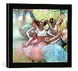 Gerahmtes Bild von Edgar Degas Four ballerinas on the stage, Kunstdruck im hochwertigen handgefertigten Bilder-Rahmen, 40x30 cm, Schwarz matt