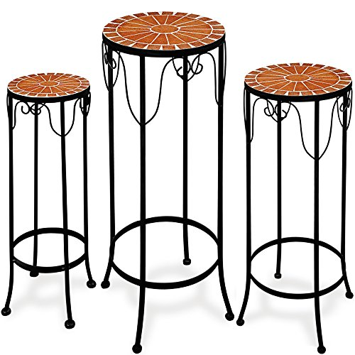 Deuba Plant stand mosaic garden table steel side table stackable set metal 3 garden tables