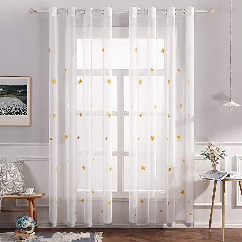 Miulee voile tenda per finestra con occhielli tende trasparenti stampati per soggiorno e camera da letto 2 pannelli 140 x 260 cm stelle giallo