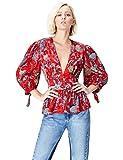 FIND Bluse Damen mit Ballonärmeln und tiefem V-Ausschnitt, Mehrfarbig (Multicoloured MPR 301), 34 (Herstellergröße: X-Small)