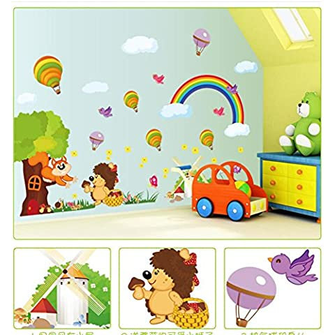 Ardilla habitación decoración decorativo de la pared etiqueta engomada grande jardín de la infancia los niños de dibujos animados lindo salón murales de