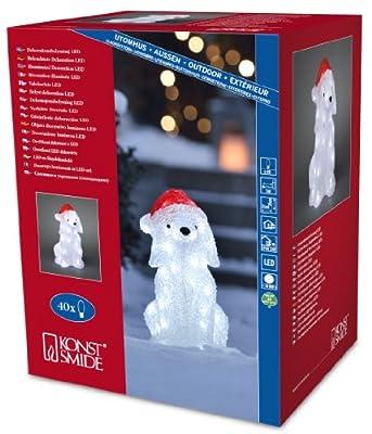 Konstsmide 6182-203 LED Acryl Hund mit Weihnachtsmütze / H: 35 /50 cm / B: 31 /50 cm / T: 20 cm / 40 kalt weiße Dioden / 24V Außentrafo / transparente von Konstsmide bei Lampenhans.de