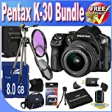 Pentax K30 Digital Camera With 18-55mm AL Lens Kit (Black) + 8GB SDHC Class 10 Memory Card + Extended Life Battery Accessory Saver Bundle!