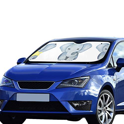 Plosds Auto Coche Sombrilla Sombra Azul Elefante Nariz Larga Visera Solar Ajuste Universal Mantener el vehículo Vehículo Refresco de Calor Sedanes Camión Todoterreno 55'x30 Sombra de Ventana