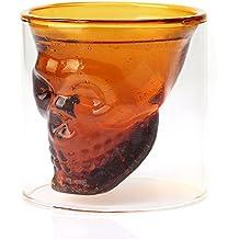Somine Bicchieri In Vetro di Cristallo(2 pezzi)- Design Cranio di Cristallo per vodka, brandy, whisky, birra da 74ml