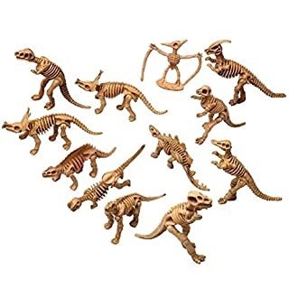 kuou Assorted Dinosaur Fossil Skeleton Figures Kids Toy,Educational Simulated Dinosaur bones Toy Dinosaur Gift Set of 12pcs