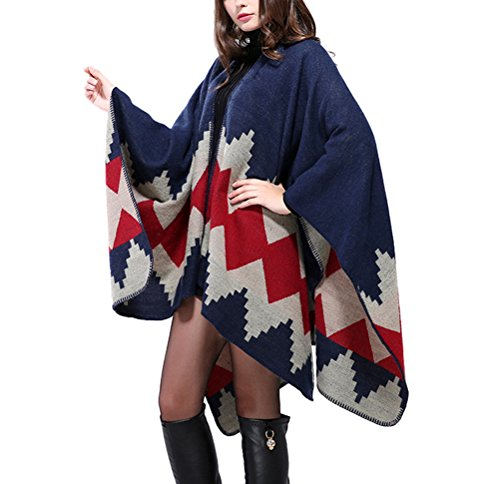 Brinny Cape Poncho Femme Tricot Carreaux Tartan Style Hiver A