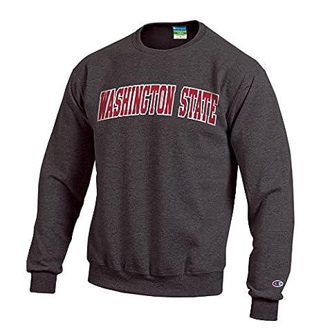 NCAA Washington State Cougars Men's Eco Powerblend Crew Neck Sweat Shirt, Medium, Granite Heather