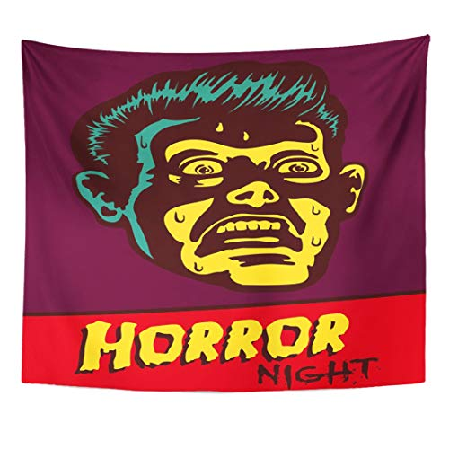 Weatipes Tapestry Horror Night Halloween Party Movie Event Terrified Vintage Man Home Decor Wall Hanging for Living Room Bedroom Dorm 50x60 Inches