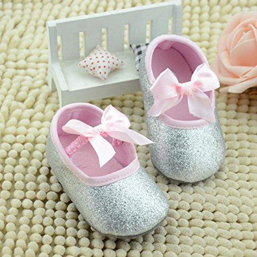 Hunpta Neue Baby jungen Mädchen Schuhe Glitter Baby Schuhe Sneaker Anti-Rutsch weiche Sohle Kleinkind (13, Silber) Silber