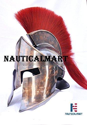 NAUTICAL MART Design Leder Armbanduhr, Kostüm, Mittelalter, Helm, 300, 300Spartan rot (Leonidas–Film-Antik