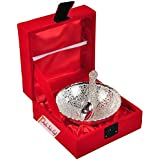 Prisha India Craft Round Embossed Peacock Design Silver Plated On Brass Dry-Fruit Bowl Serving Set With Velvet Box 100 Ml - Diwali Gift