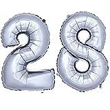 DekoRex ® Folienballon Zahlenballon Luftballon Geburtstag Deko 40cm Silber Zahl: 28