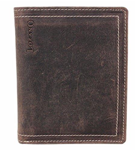 LOZANO Geldbörse / Portmonnaie aus echtem weichem Büffelleder / Leder - Vollleder Hochformat 30004NC